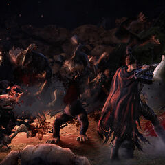 Guts clearing a troll horde in a gameplay screenshot.