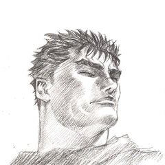 Guts looks up.