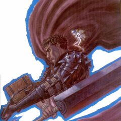 Guts' cape flows around the Dragonslayer.