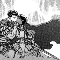 Guts and Casca kiss beneath a waterfall.