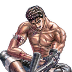 Guts tinkers with his prosthetic arm.