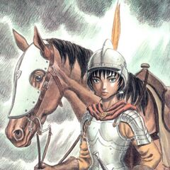 Casca holding the reins of her horse.