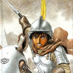 Casca dons armor during battle.