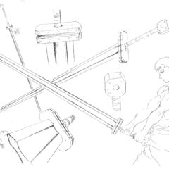 Concept art of Guts' Golden Age era sword, with the wielder present for size comparison, for the 1997 anime.