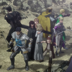 Guts and company surrounded by Kushan.