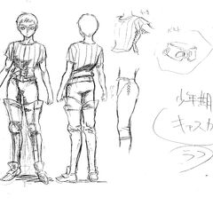 Front and back view concept sketches of a young Casca for the 1997 anime.