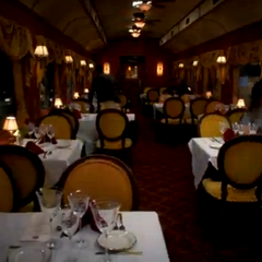 The dining car Amy and Sheldon will be having dinner in.