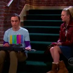 Penny talking to the exiled Sheldon.