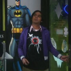 Raj with a sound effects t-shirt.