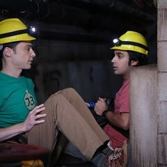 Raj and Sheldon simulating being in a hot and humid mine.