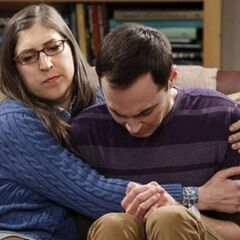 Amy comforting the tearful Sheldon.