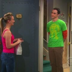 Sheldon tempts Penny.