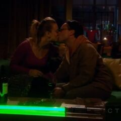 Leonard and Penny try to make out during the blackout.