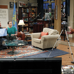 Amy filming Sheldon and Wil Wheaton.