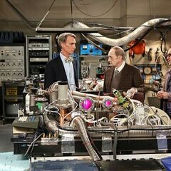 Bill Nye and Professor Proton in Leonard's lab.