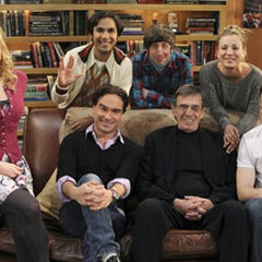 (front row) Melissa Rauch, Johnny Galecki, Leonard Nimoy and Jim Parsons, (back row) Kunal Nayyar, Simon Helberg and Kaley Cuoco (Behind the Scenes).