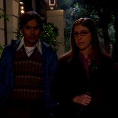 Raj walking Amy to her car.