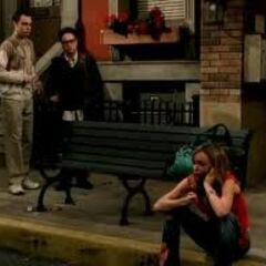 Sheldon and Leonard find Katie on the curb homeless.