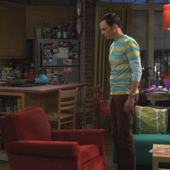 Sheldon obsessing over the chair.