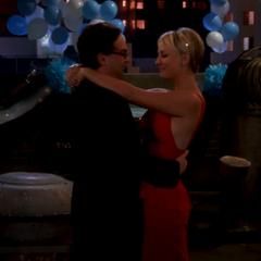 Leonard and Penny dancing.