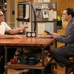 Discussing with Sheldon on a timer.