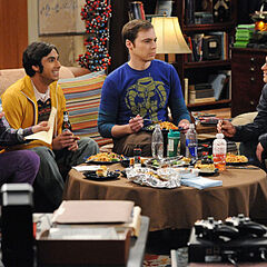 Howard, Raj, Sheldon, and Leonard having dinner.