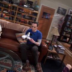 Buzzing toward Sheldon.