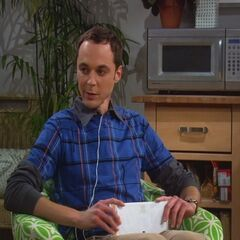 Sheldon's spot at Penny's.