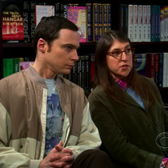 Amy and Sheldon making fun of Brian Greene