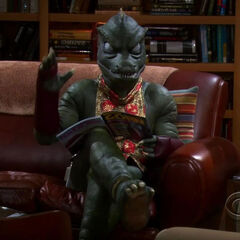 Gorn waving to Sheldon.
