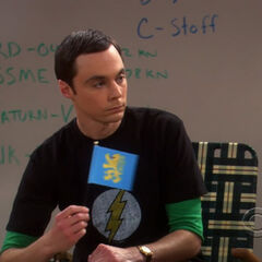 Sheldon and the apartment flag.