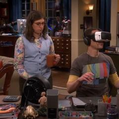 Amy getting Sheldon some tea.