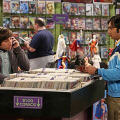 Howard and Raj at the comic book store.