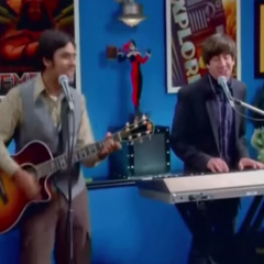 Raj and Howard performing.