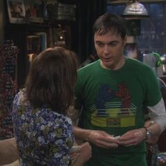 Mary taking care of a sick Sheldon.
