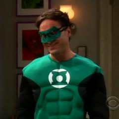 Leonard dressed as Green Lantern.