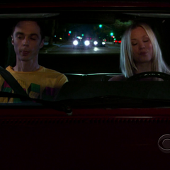Penny driving Sheldon to pick up Amy.