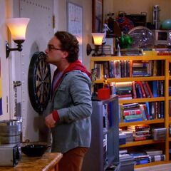 Leonard spying on Penny's study partner.