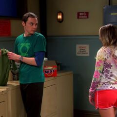 AR: Penny talking to Sheldon in the laundry room.