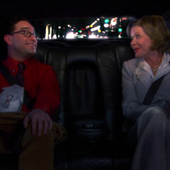 Leonard talking with Mrs. Lathram in her limo.