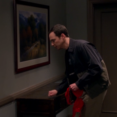 Sheldon finishing up his knock.