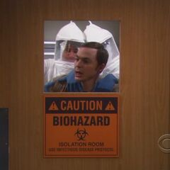 Sheldon trapped in the isolation ward.