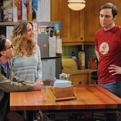 Leonard and Penny listen to Sheldon's woe.