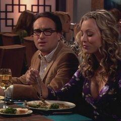 Leonard and Penny having dinner together.