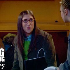 Amy tells Penny she does not mind being Penny's cellmate should they be caught for taking clothes donated for the needy