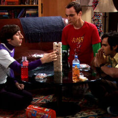 Howard, Sheldon, and Raj playing <i>Jenga</i>