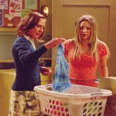Mary Cooper examining Penny's laundry.