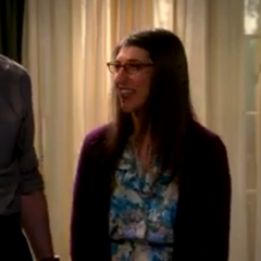 Amy smiling after Sheldon saying,