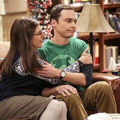 Amy happy that Sheldon said yes.