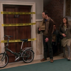 Sheldon is mad at a bicycle.